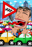 Uomo d'affari Screaming Traffic Jam di caricatura Immagine Stock