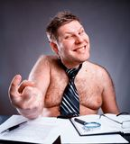 Uomo d'affari senza camicia strano Immagine Stock Libera da Diritti