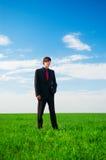 Uomo d'affari serio che si leva in piedi all'erba Immagini Stock Libere da Diritti