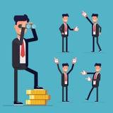Uomo d'affari Set Un uomo sta su soldi e sullo sguardo tramite il binocolo Fotografia Stock