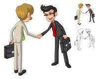 Uomo d'affari Shake Hands Poses con il personaggio dei cartoni animati del cliente Fotografia Stock