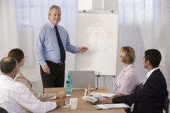 Uomo d'affari sicuro che dà presentazione. immagini stock