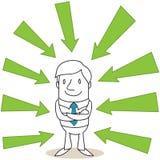 Uomo d'affari sicuro con le frecce verdi Fotografia Stock Libera da Diritti