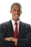 Uomo d'affari Smiling di Amerian dell'Africano Fotografia Stock Libera da Diritti
