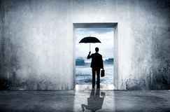 Uomo d'affari solo Facing Financial Depression fotografia stock