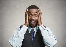 Uomo d'affari sorpreso e felice Fotografia Stock