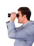 Uomo d'affari sorridente che osserva al futuro Fotografie Stock