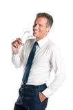 Uomo d'affari sorridente con i vetri Fotografie Stock