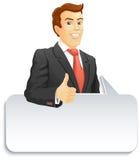 Uomo d'affari sorridente con il fumetto Fotografie Stock Libere da Diritti