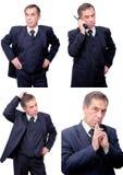Uomo d'affari sorridente di pensiero interessato isolato Fotografia Stock