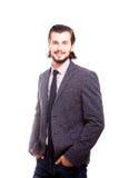 Uomo d'affari sorridente sicuro nell'usura convenzionale Fotografia Stock Libera da Diritti