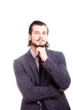 Uomo d'affari sorridente sicuro nell'usura convenzionale Fotografia Stock