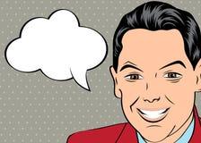 Uomo d'affari sorridente, stile di Pop art illustrazione vettoriale