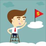 Uomo d'affari stanco raggiungere obiettivo con la bandiera rossa e il dolla giallo Fotografie Stock Libere da Diritti