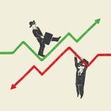 Uomo d'affari su e giù illustrazione di stock