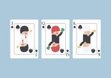 Uomo d'affari su Jack, regina, re, carta da gioco Immagini Stock