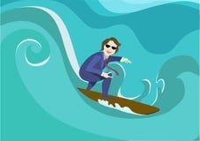 Uomo d'affari su spuma l'uomo d'affari prende l'onda Concetto di giovane impresa, illustrazione vettoriale