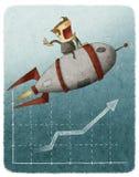 Uomo d'affari su un razzo e su un grafico di finanza Immagine Stock