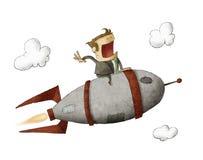 Uomo d'affari su un razzo e su un volo Fotografia Stock