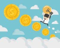 uomo d'affari sui punti della moneta della scala delle monete al concetto Fotografia Stock Libera da Diritti