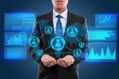 Uomo d'affari sul concetto di alta tecnologia Fotografia Stock