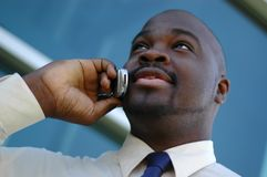 Uomo d'affari sul telefono Fotografia Stock Libera da Diritti