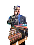 Uomo d'affari sul telefono cellulare a Los Angeles Immagine Stock