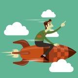 Uomo d'affari sul volo del razzo nel cielo Fotografie Stock