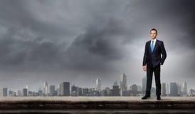 Uomo d'affari sulla cima Fotografia Stock