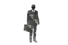 Uomo d'affari sulla siluetta del telefono - estratto Immagine Stock