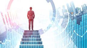 Uomo d'affari sulle scale in citt?, nei grafici ed in HUD fotografia stock libera da diritti