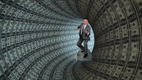 Uomo d'affari Surfing dentro una metropolitana dei dollari americani, metraggio di riserva video d archivio