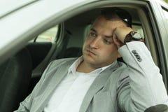 Uomo d'affari tardi per lavoro Fotografia Stock