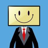 Uomo d'affari With Television Screen come il suo testa Immagini Stock Libere da Diritti