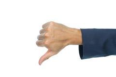 Uomo d'affari Thumb Down Finger isolato su bianco Fotografia Stock Libera da Diritti