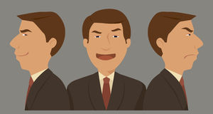 Uomo d'affari a tre caratteri Fotografie Stock