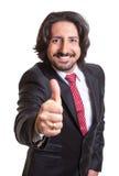 Uomo d'affari turco con la barba che mostra pollice Fotografia Stock Libera da Diritti