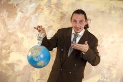 Uomo d'affari in tutto il mondo Fotografia Stock Libera da Diritti