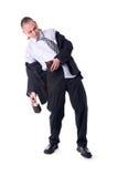 Uomo d'affari ubriaco scosso dal raccoglitore vuoto Immagine Stock Libera da Diritti
