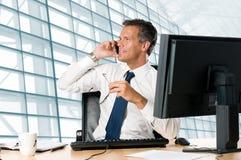Uomo d'affari in ufficio Fotografia Stock Libera da Diritti