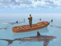 Uomo d'affari in una barca circondata dagli squali illustrazione di stock