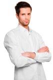 Uomo d'affari in una camicia bianca Fotografie Stock Libere da Diritti