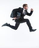 Uomo d'affari in una fretta Fotografie Stock