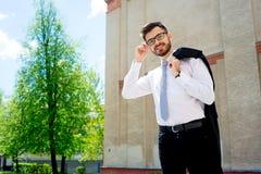 Uomo d'affari in una fretta Fotografia Stock Libera da Diritti