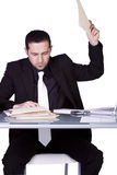Uomo d'affari Upset al suo scrittorio in vestito Immagine Stock Libera da Diritti