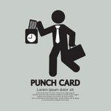 Uomo d'affari Using Punch Card per il controllo di tempo Fotografie Stock Libere da Diritti