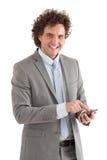 Uomo d'affari Using uno Smart Phone Fotografia Stock Libera da Diritti