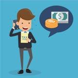 Uomo d'affari in vestito che parla dei soldi sul telefono cellulare e sulla tassa a disposizione Concetto di finanza e di affari, Fotografia Stock