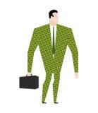 Uomo d'affari in vestito dei dollari Abbigliamento dei soldi Ufficio d'avanguardia pl Immagini Stock Libere da Diritti