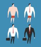 Uomo d'affari in vestito e cartella Metta l'uomo in vestiti Fotografia Stock Libera da Diritti